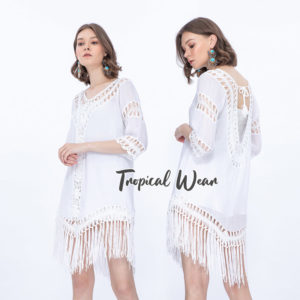 เสื้อถักโครเชต์ แต่งพู่สีขาว