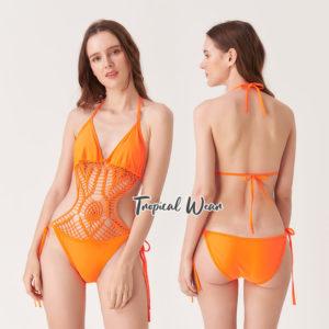 ชุดว่ายน้ำวันพีชถักโครเชต์ สีส้ม