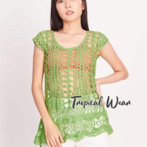 เสื้อถักโครเชต์สไตล์เฟมินีน สีเขียว
